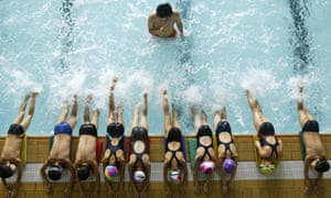 Children exercise at swimming pool in Shanghai