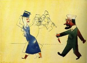 George Grosz: John, der Frauenmörder (John, the Woman Slayer), 1917. Watercolour, reed pe