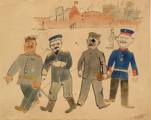George Grosz: Vor der Kaserne (In Front of the Barracks). 1918 Watercolour and India ink