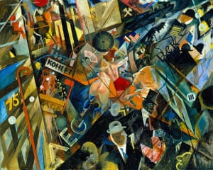 George Grosz: Tempo der Strasse (The Tempo of the Street), 1918. Oil on board