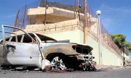 Russian embassy in Tripoli after it was attacked