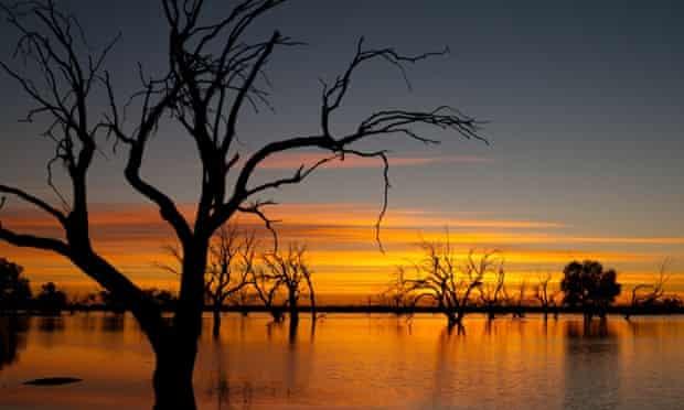 Sunrise over Lake Pinaroo in Sturt National Park, outback Australia.