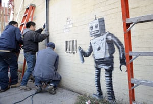 Banksy in NYC update: Robot paints barcode