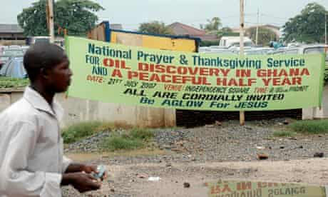 Ghanaian banner heralding discovery of oil reserves
