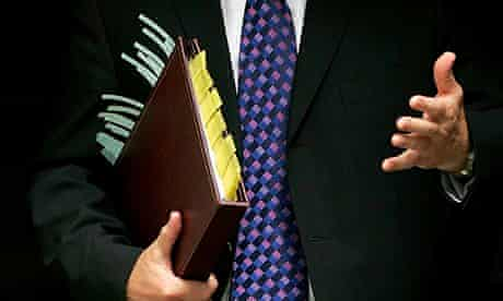 business man torse with file
