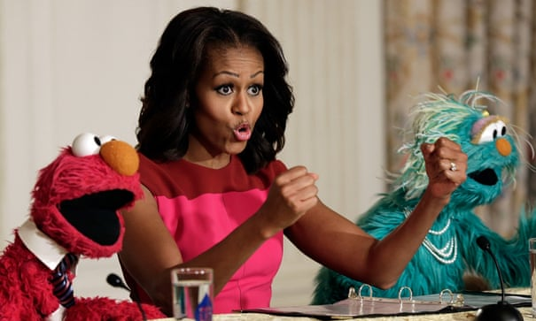 Michelle Obama joined by Elmo and Rosita to promote healthy