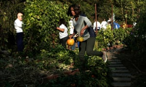 Michelle Obama carries just-harvested pumpkins while joining school children to harvest fruits and vegetable from the White House Kitchen Garden.