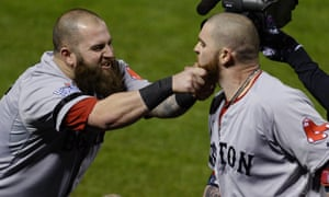 Mike Napoli celebrates with Jonny Gomes in Game Four