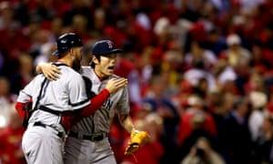 Closer Koji Uehara and catcher David Ross, Red Sox vs Cardinals