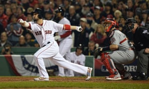 Shane Victorino hits a three-run double in the bottom of the third inning of Game Six