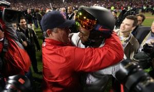 MVP David Ortiz hugs manager John Farrell