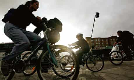 Colombian students ride bicycles on 'The no car day' in Bogota