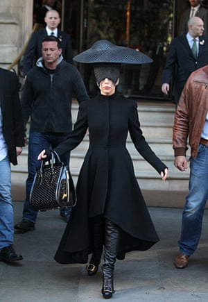 Week in Gaga: Seeking assistance: Lady Gaga leaves the Langham Hotel in London