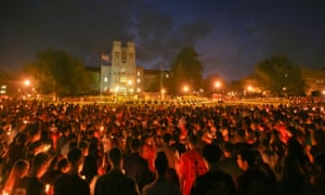 Virginia Tech students during a memorial on the Blacksburg campus.