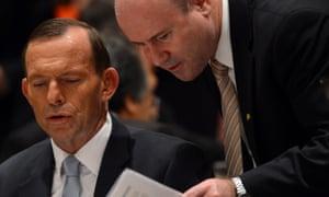 The Australian ambassador, Greg Moriarty (right), with Tony Abbott.