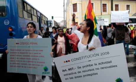 Protesters gather outside the national assembly in Quito to campaign against drilling in Yasuni.
