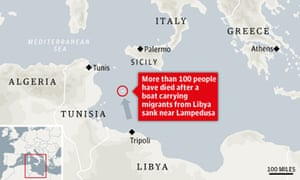 Map of where migrant boat sank off coast of Lampedusa