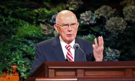 Dallin Oaks speaking at the Mormon church conference in Salt Lake City.