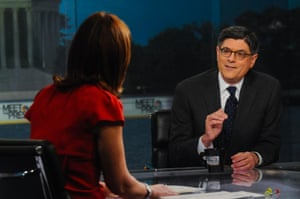 """Moderator Savannah Guthrie and U.S. Treasury Secretary Jack Lew appear on """"Meet the Press"""" in Washington, D.C. in this handout photo courtesy of NBC News on October 6, 2013."""