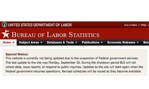 Bureau of Labor Statistics web page