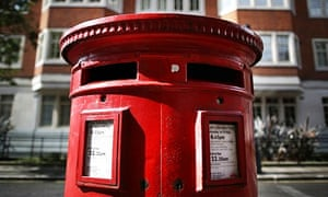 Royal Mail post box in London, England.