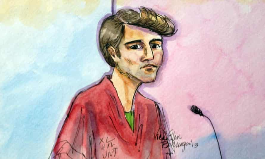 This artist rendering shows Ross William Ulbricht appearing in Federal Court in San Francisco on Friday, Oct. 4, 2013.