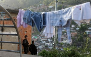 Favela clearance: Police officers patrol at the Arvore Seca slum