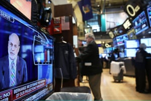 Federal Reserve Chairman Ben Bernanke, speaking at a news conference, is seen on a television screen on the floor of the New York Stock Exchange on September 18, 2013 in New York City..