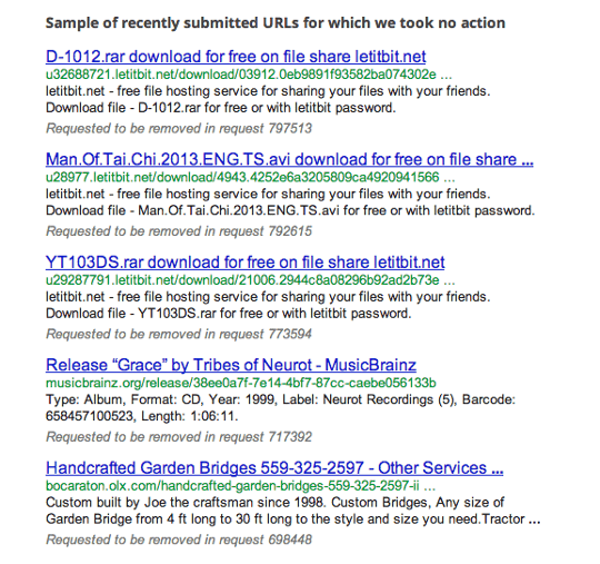 Examples of the links Google received takedown requests against.