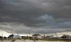 Storm clouds roll in from the Gulf of Mexico in Gulf Shores, Alabama, as weakening Tropical Storm Karen approaches landfall October 5, 2013.