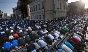 Muslim men praying in Moscow in 2012