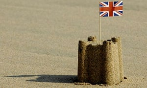 Sandcastle with union flag