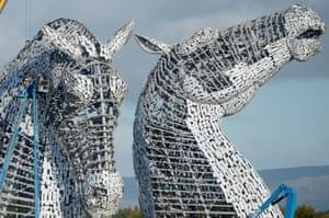 Work continues on The Kelpies sculptures at the eastern entrance to the Forth and Clyde canal in Falkirk, Scotland.