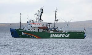 Greenpeace's ship, Arctic Sunrise, being towed into the Russian port of Murmansk.