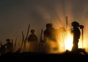 Army Photographic winners: Sappers from 21 Engineer Regiment working as the sun sets, to de-construct