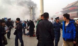 Smoke raises from the scene of the attack in Tiananmen Square.