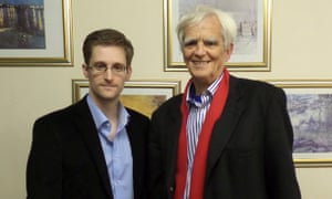German politician Hans-Christian Ströebele (right) with NSA whistleblower Edward Snowden in Russia