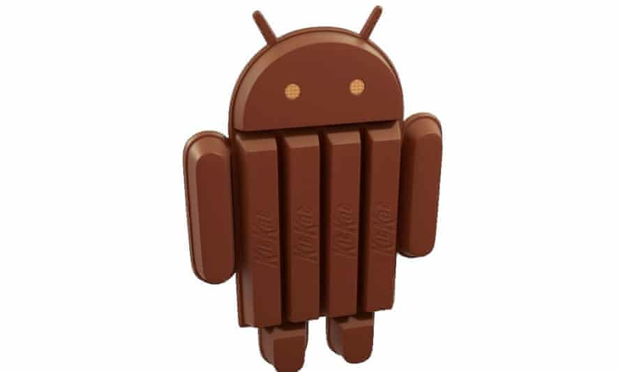 """Google's latest version of Android is 4.4 """"Kitkat""""."""