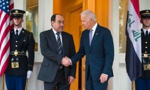Vice president Joe Biden welcomed Iraqi prime minister Nouri al-Maliki