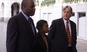 Michael Mansfield (right) with Neville and Doreen Lawrence, parents Stephen