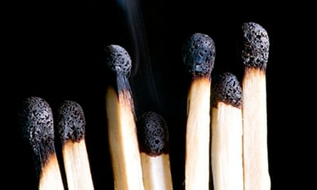 object on black match with smoke