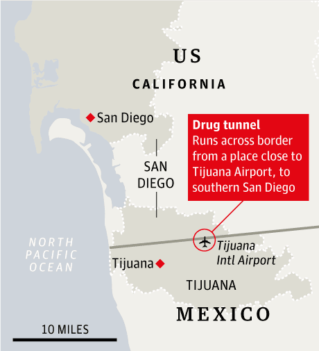 US Shuts Mexican Drug Smugglers Crossborder Super Tunnel - San diego us map close to mexico