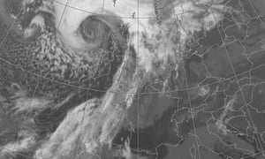 Storms over Scotland satellite image