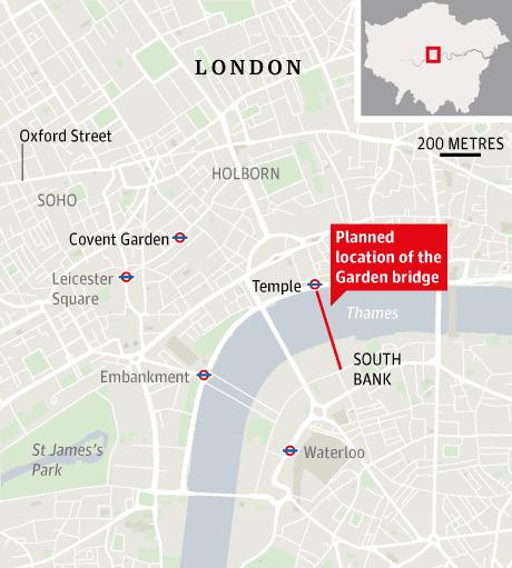 Map showing location of proposed garden bridge