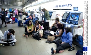Delayed passengers waiting after today's shooting incident at LAX.