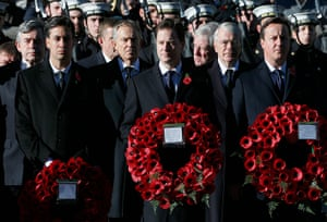 Remembrance Sunday: Prime Minister David Cameron, the leader of the Liberal Democrat party Nick