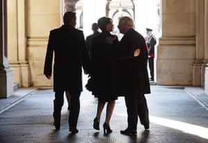 Remembrance Sunday: Prime Minister David Cameron and his wife Samantha walk with Mayor of Londo