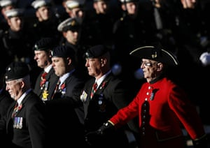 Remembrance Sunday: Military veterans march towards the Cenotaph to pay their respects