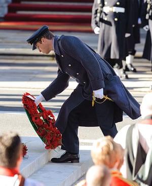 Remembrance Sunday: The Duke of Cambridge lays a wreath
