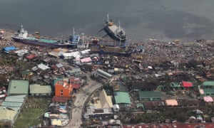 An aerial view in Leyte province shows the huge power of the storm surge.